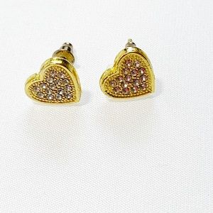 Gold tone hearts with cz diamonds paved
